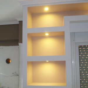 Γυψοσανίδες - Ράφια τοίχου με κρυφό φωτισμός